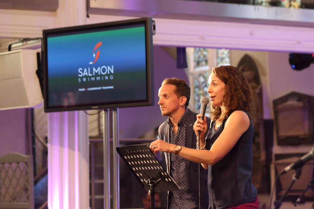Laura and James Mears from Salmon Swimming speaking at launch event