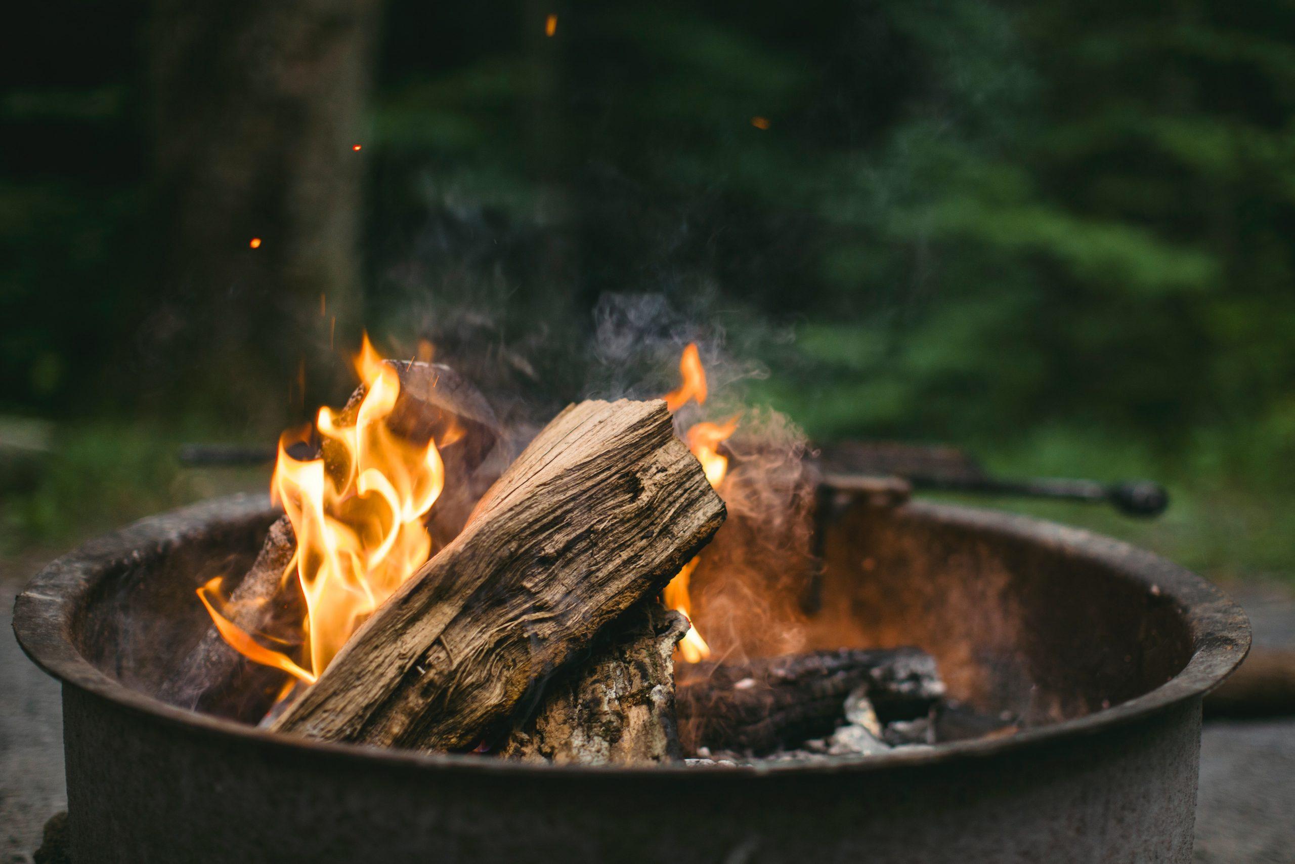 Fire burning in a metal bin